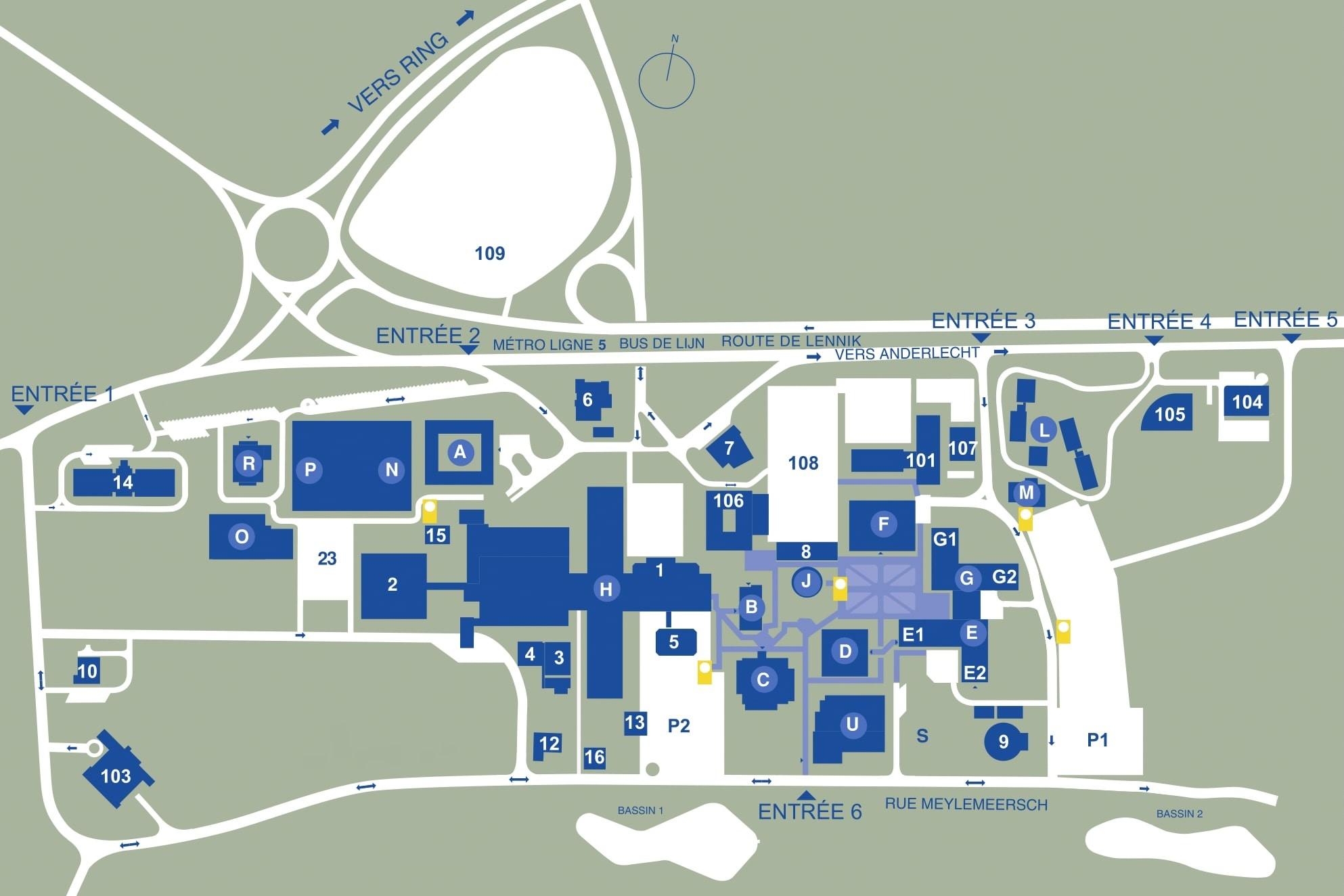 Plan du campus Erasme